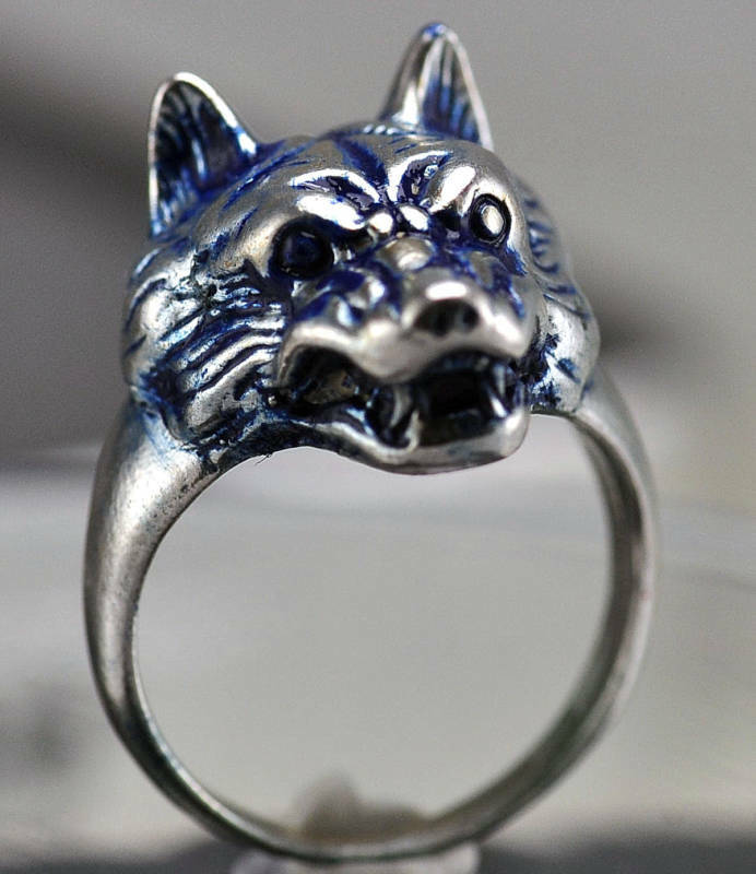 blue wolf genuine sterling silver ring lycan were