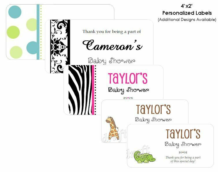 40 LABELS 4x2 - Baby Shower Party Goodie Bag Tags Favor ...