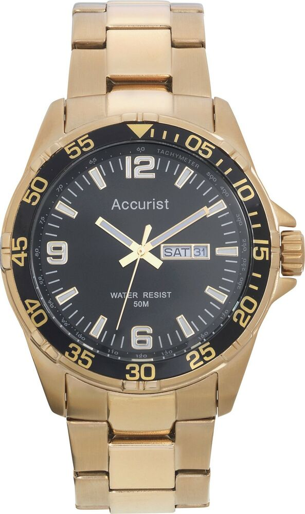 accurist s gold plated sports ebay