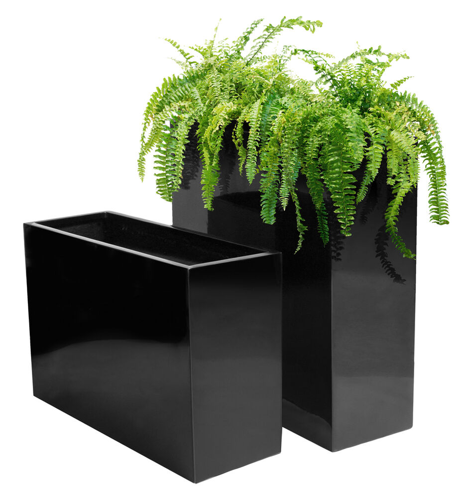 Fibreglass Tall Trough Planter Gloss Black Plant Pot