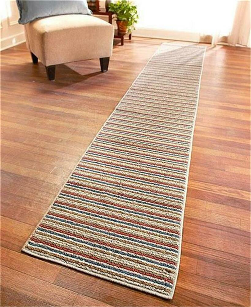 EXTRA-LONG NONSLIP STRIPED FLOOR RUNNER RUG SAND BLUE OR SPICE-60