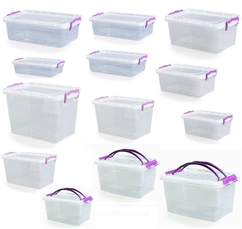 Small Medium Large Size Clip Handle Plastic Clear Storage