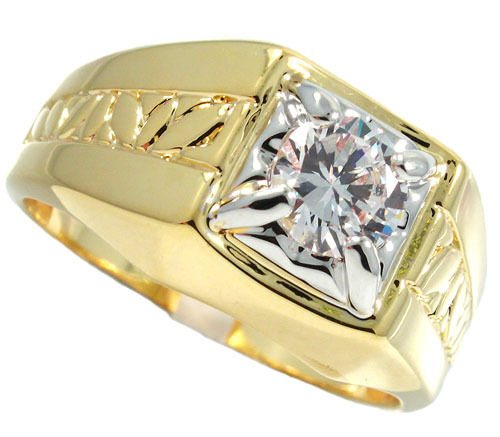 2ct Clear Cz Stone Two Tone 18kt Gold Ep Mens Ring Ebay