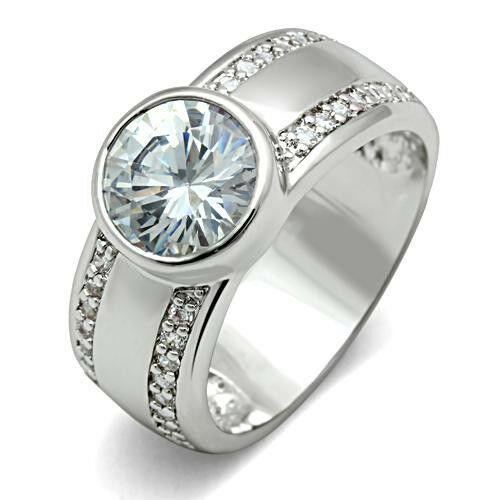 2 8ct clear wide band engagement white gold ep