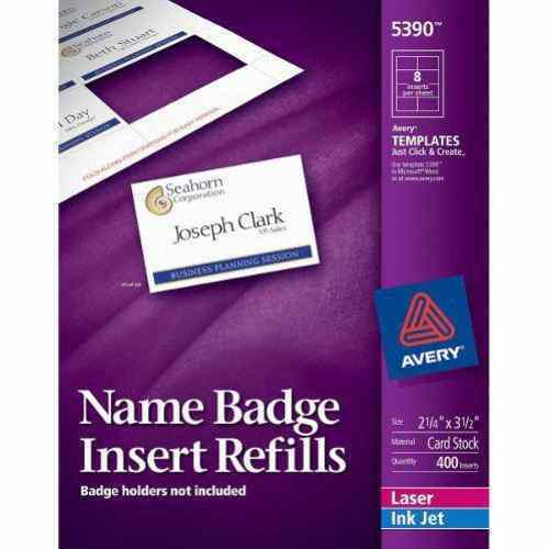 Avery name badge insert refills 2 1 4 x 3 1 2 8up 50 for Avery name plate template