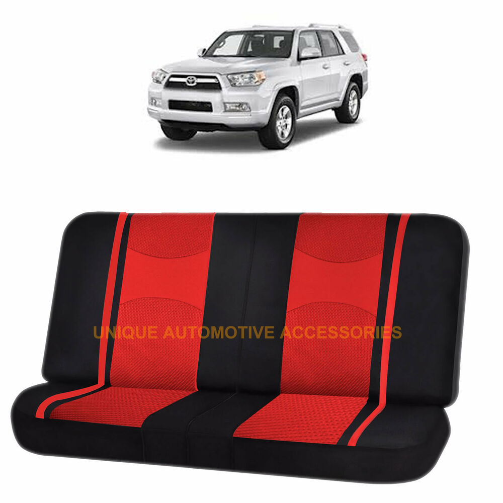 Red Amp Black Poly Mesh Net 2pc Split Bench Seat Cover For