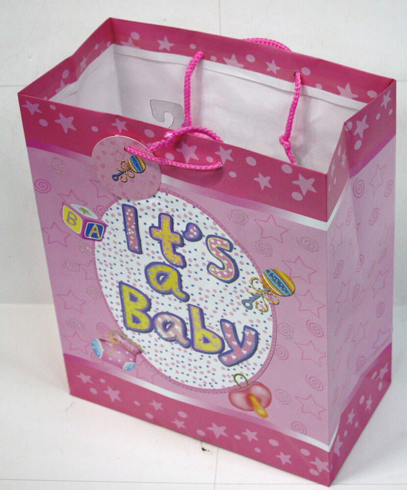 """12PC LARGE BABY SHOWER GIFT BAG ASSORTED COLORS 5"""" X 11"""" X"""