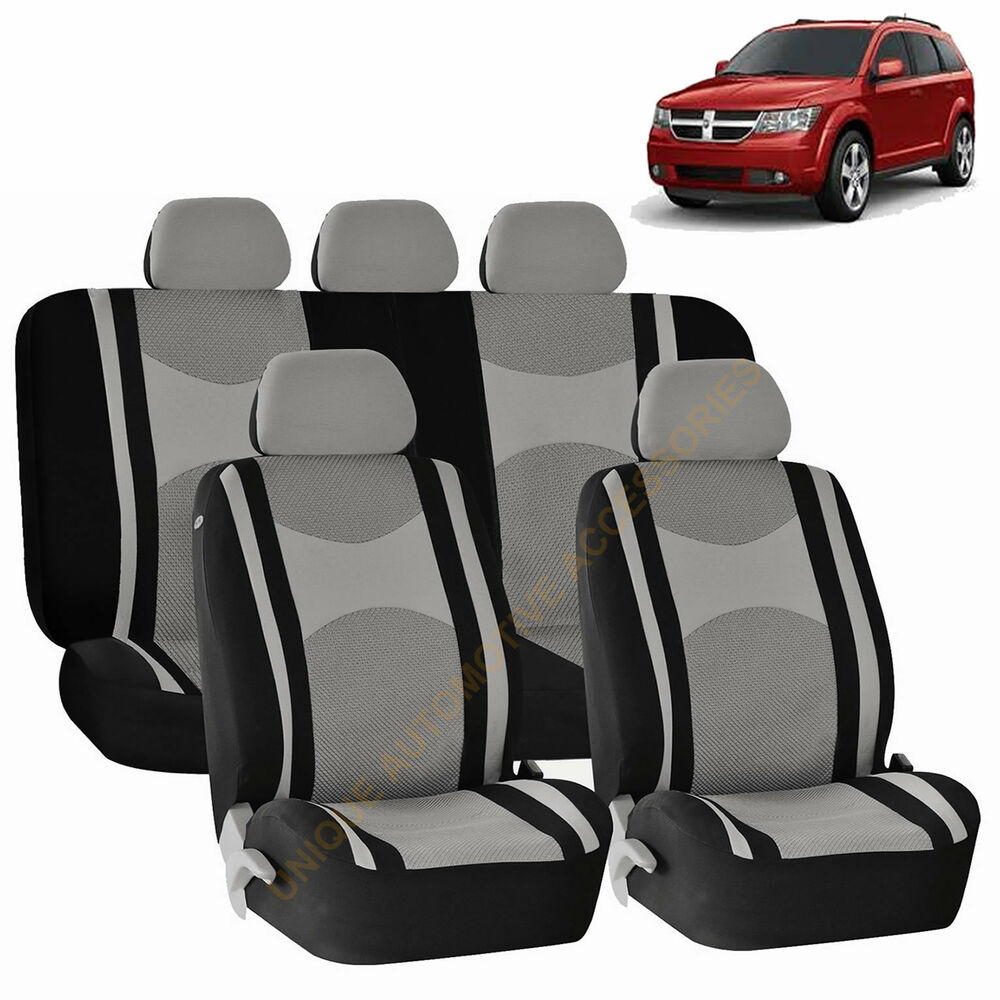 gray airbag split bench seat covers 9pc set for dodge ram journey ebay. Black Bedroom Furniture Sets. Home Design Ideas