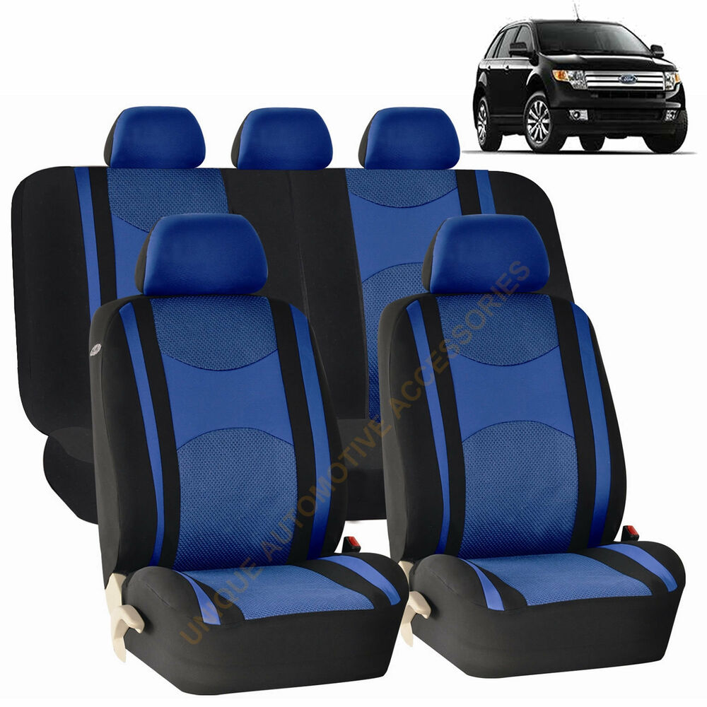 blue airbag split bench seat covers 9pc set for ford edge fusion ebay. Black Bedroom Furniture Sets. Home Design Ideas