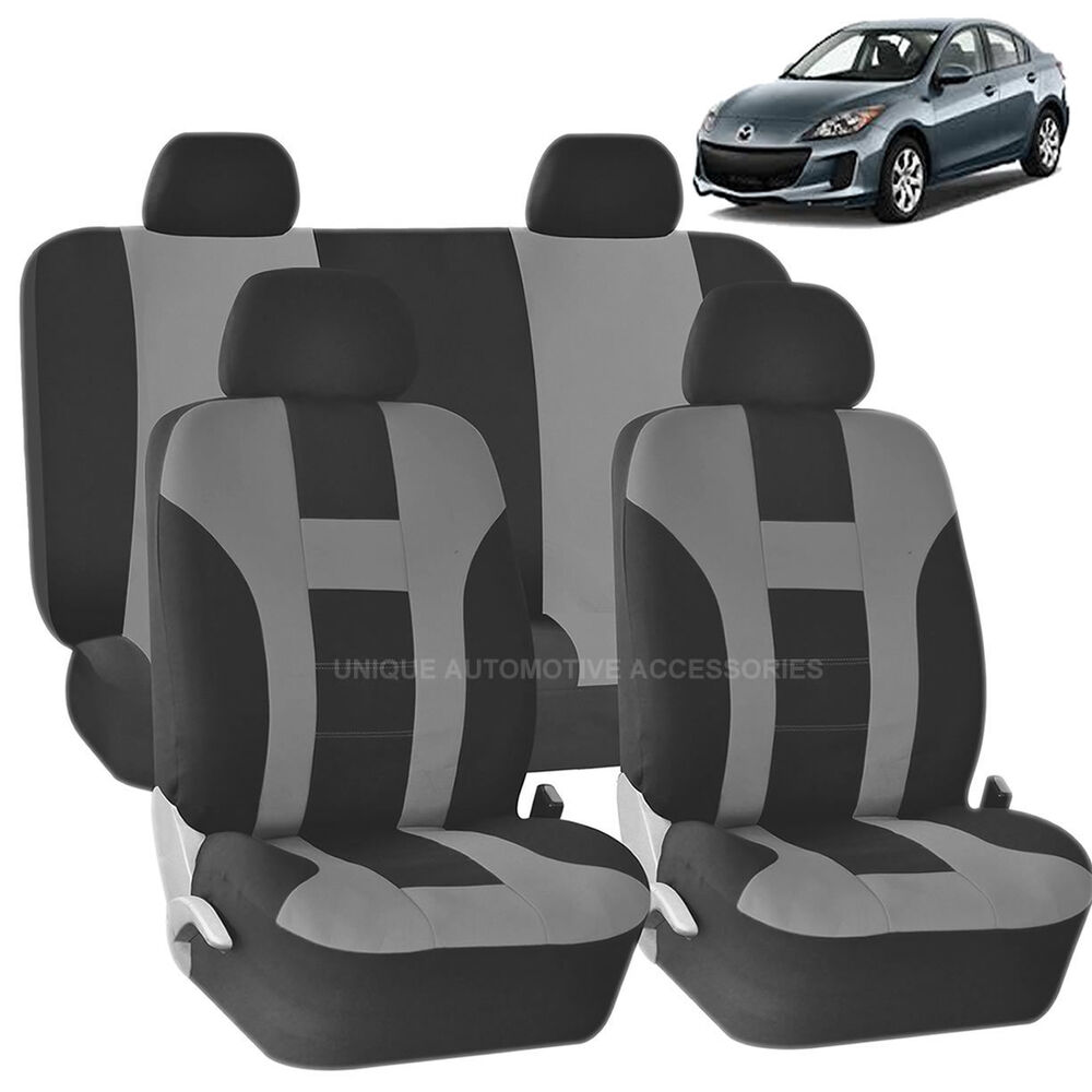GRAY Amp BLACK DOUBLE STITCH SEAT COVERS 8PC SET For MAZDA 3