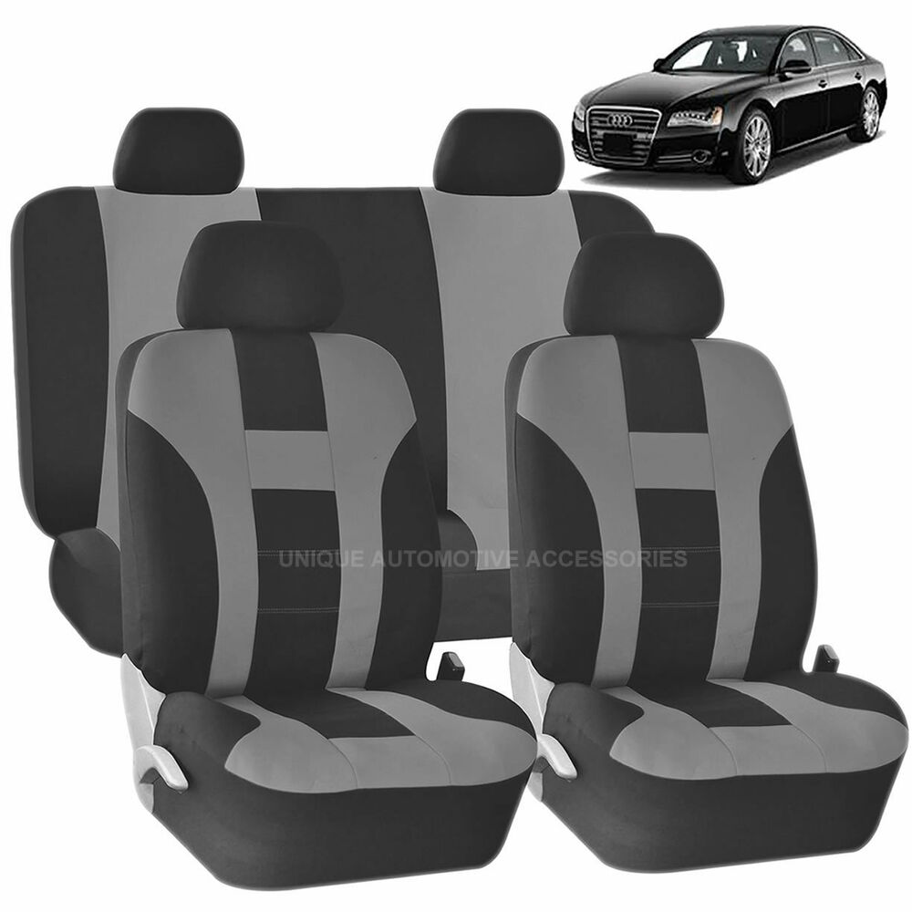 GRAY & BLACK DOUBLE STITCH SEAT COVERS 8PC SET For AUDI A3