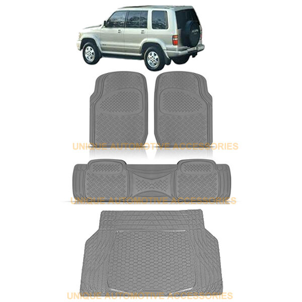 CHARCOAL GRAY HEAVY DUTY RUBBER FLOOR MATS CARGO TRUNK MAT