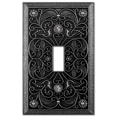 Wall Plate Light Cover : Wall Plate Light Switch Plate & Outlet Cover Arabesque pewter silver metal eBay