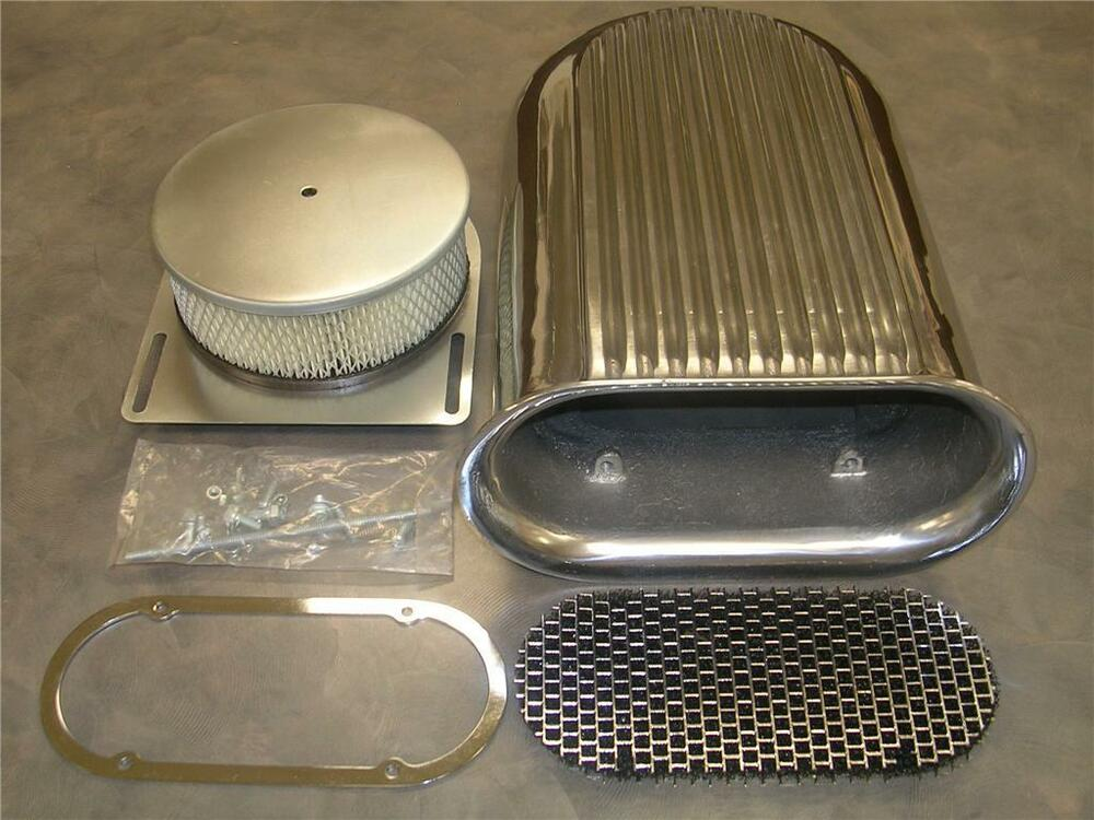 Aluminum Air Scoops : Barrel polished hilborn style carb finned air cleaner