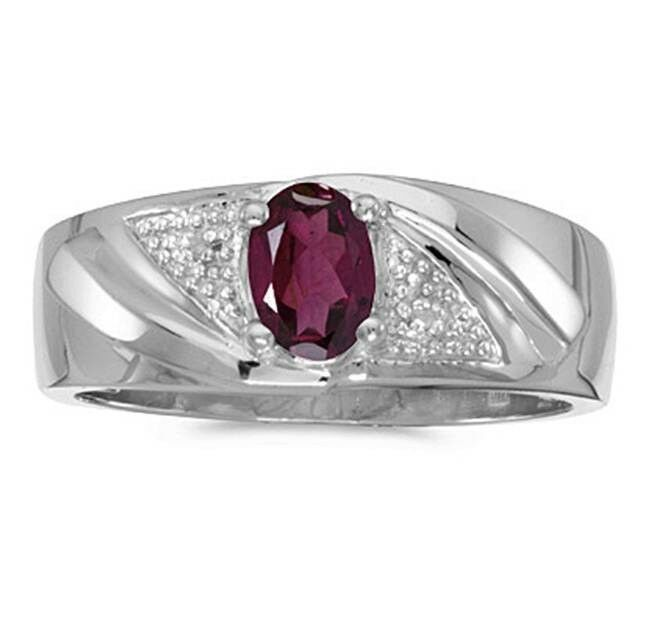 mens rhodolite garnet and diamond ring 10k white gold ebay. Black Bedroom Furniture Sets. Home Design Ideas