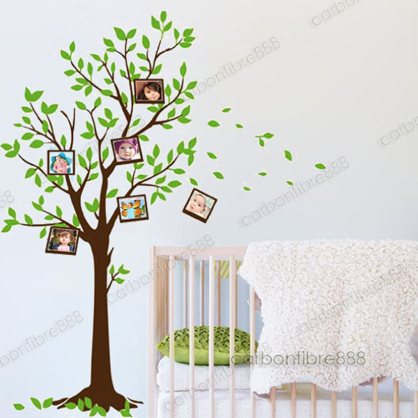 Green family tree photo frames wall stickers art decal - Family tree desktop wallpaper ...