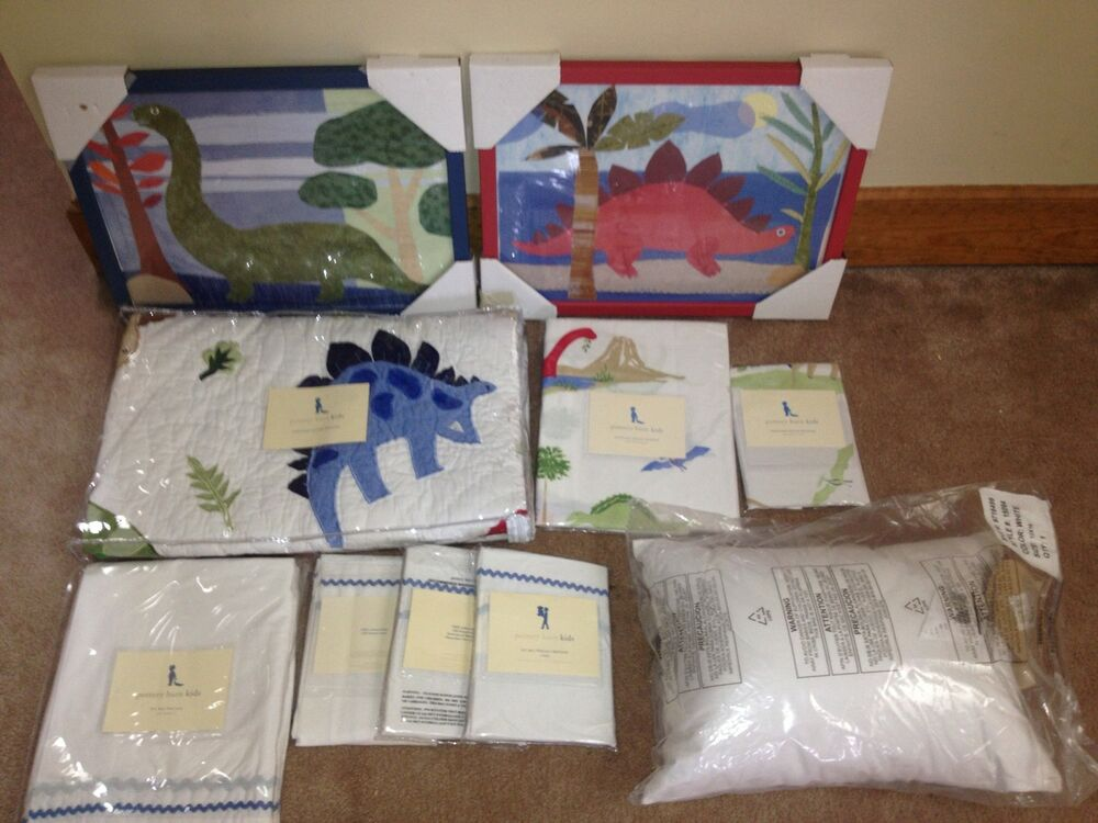 New 11 Pc Pottery Barn Kids Dinosaur Crib Quilt Toddler