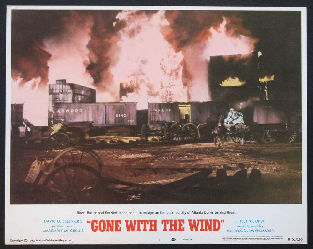 Gone With The Wind Atlanta Burning R 68 Lobby Card 2 Ebay