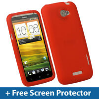Red Silicone Skin Case for HTC One X + Plus S720e Android Cover Holder Shell 1