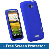 Blue Silicone Skin Case for HTC One X + Plus S720e Android Cover Holder Shell 1