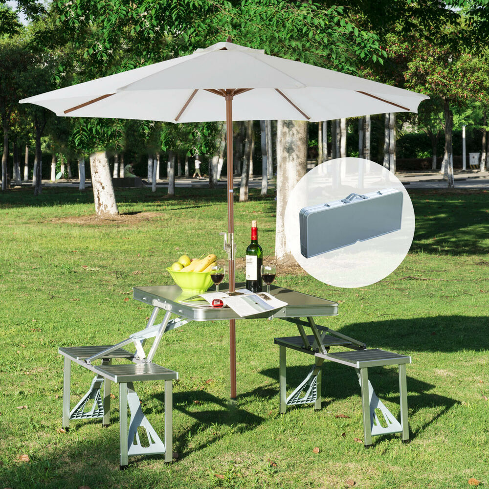 New outdoor portable folding aluminum picnic table 4 seats - Aluminium picnic table with umbrella ...