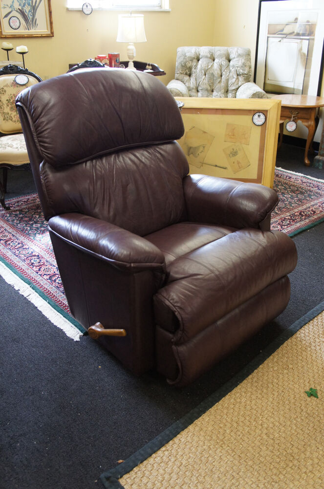Red Leather Rocking Chair ~ Dark red leather upholstered la z boy lazy recliner