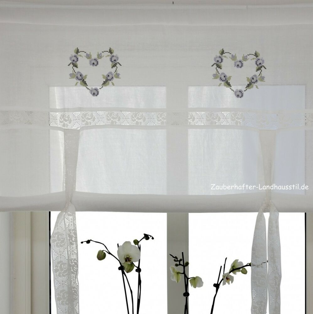 raff gardine heart blau 100 120 140 160 cm breit shabby chic vintage curtain ebay. Black Bedroom Furniture Sets. Home Design Ideas