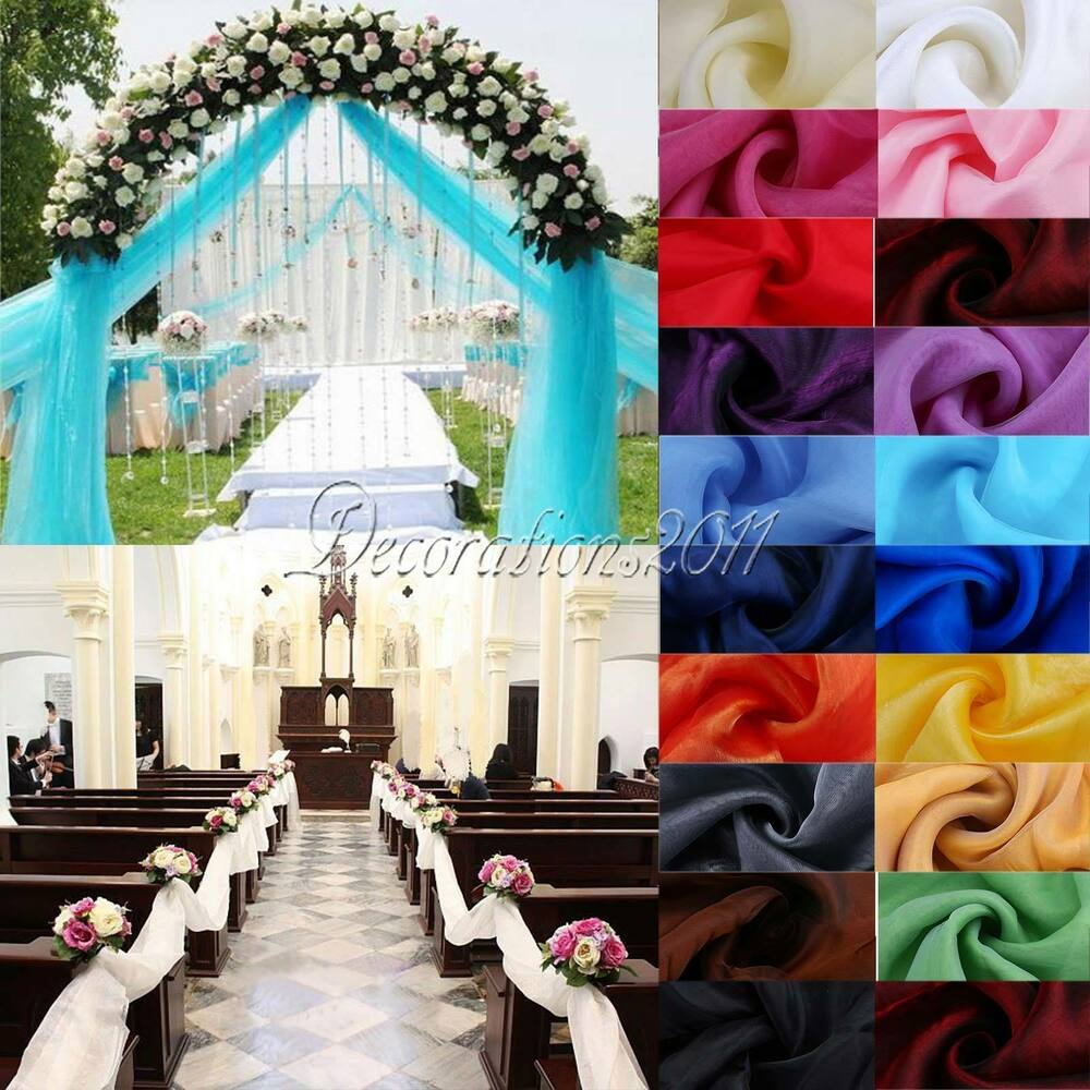 5m top table swags sheer organza fabric diy wedding party bow decorations ebay - Bow decorations for weddings ...