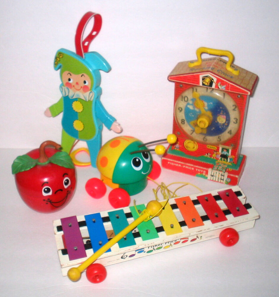 vintage fisher price toys xylophone happy apple clock. Black Bedroom Furniture Sets. Home Design Ideas