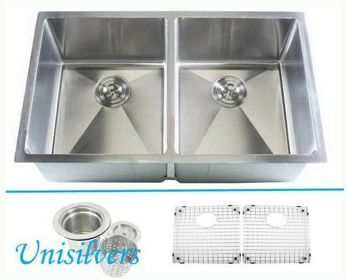 Square Corner Sink : ... Radius Square Corner Double Bowl Stainless Steel Kitchen Sink eBay