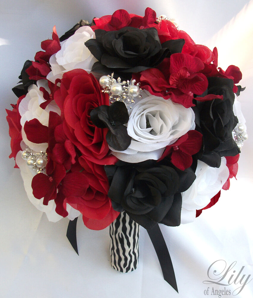 red and black wedding bouquets 17pcs wedding bridal bouquet set decoration package silk 6990