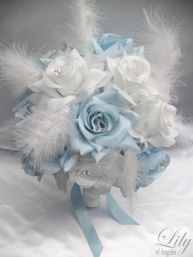 17pcs Wedding Bridal Bouquet Flowers BABY BLUE WHITE Bride