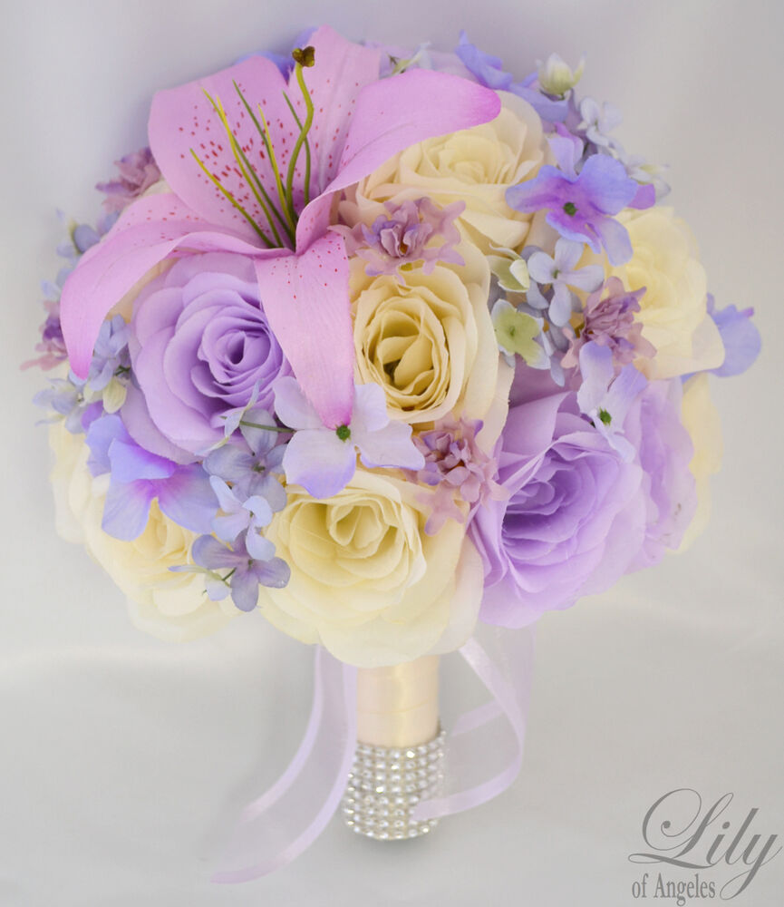 17pcs wedding bridal bouquet silk flower decoration for Artificial flower for wedding decoration