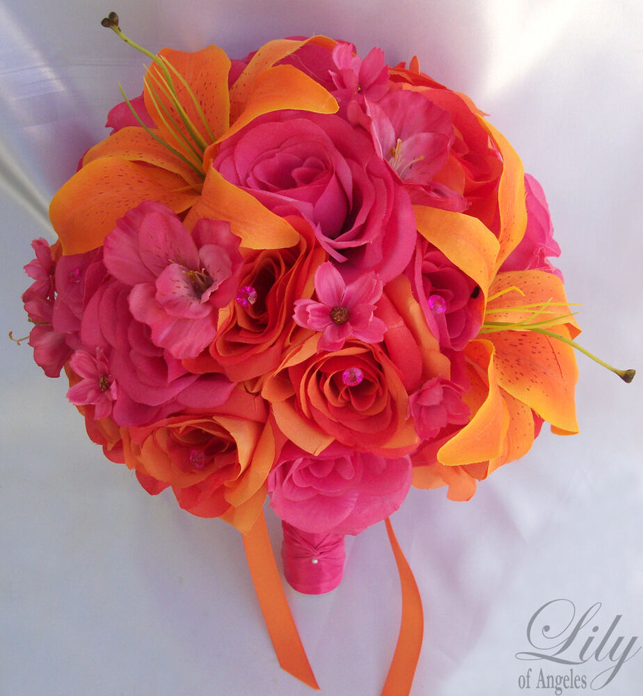 Lily Flower Wedding Bouquet: 17pcs Wedding Bridal Bouquet Bride Flower Decoration