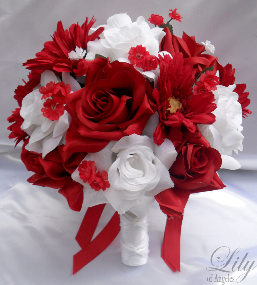 White And Red Wedding Flowers: 17pcs Wedding Bridal Bride Bouquet Flowers Bridesmaid