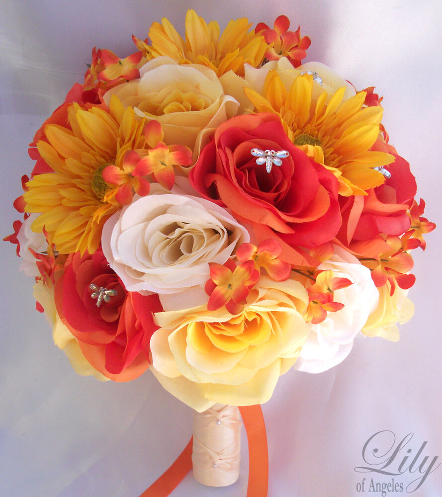 17pcs wedding bridal bouquet set decoration package silk flowers orange yellow ebay - Flowers good luck bridal bouquet ...