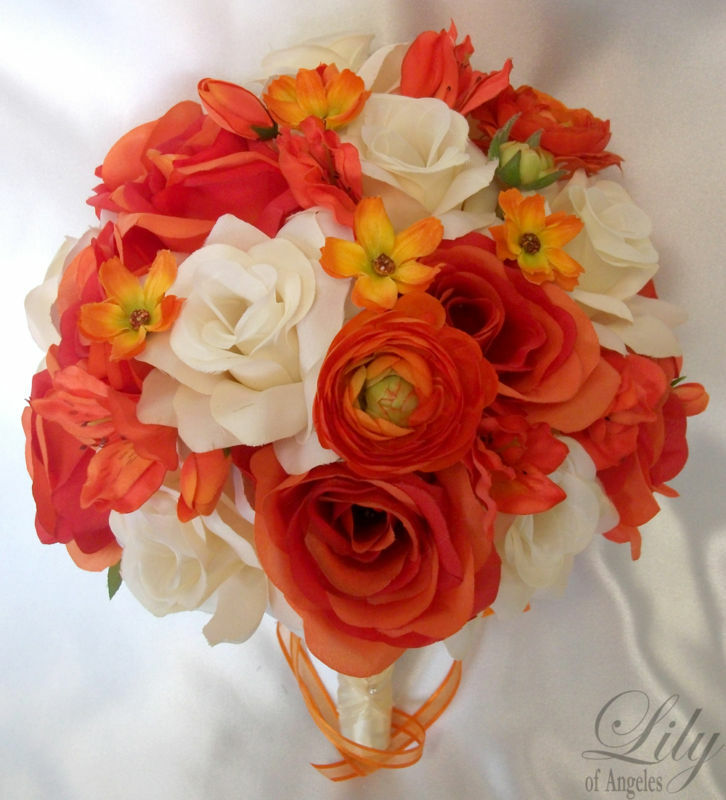 17 Piece Set Wedding Bridal Bouquets Silk Flower Round ...