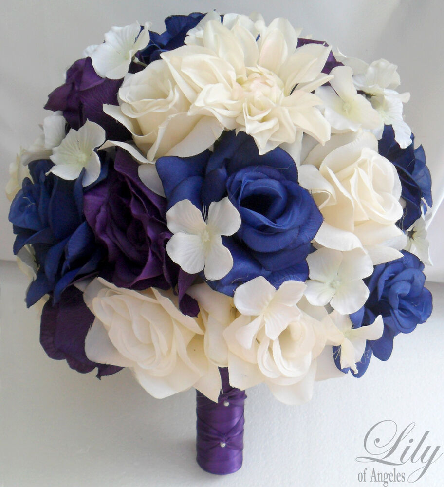 Wedding Bouquets With Blue Flowers: 17pcs Wedding Bridal Bouquet Flower Bride Decoration