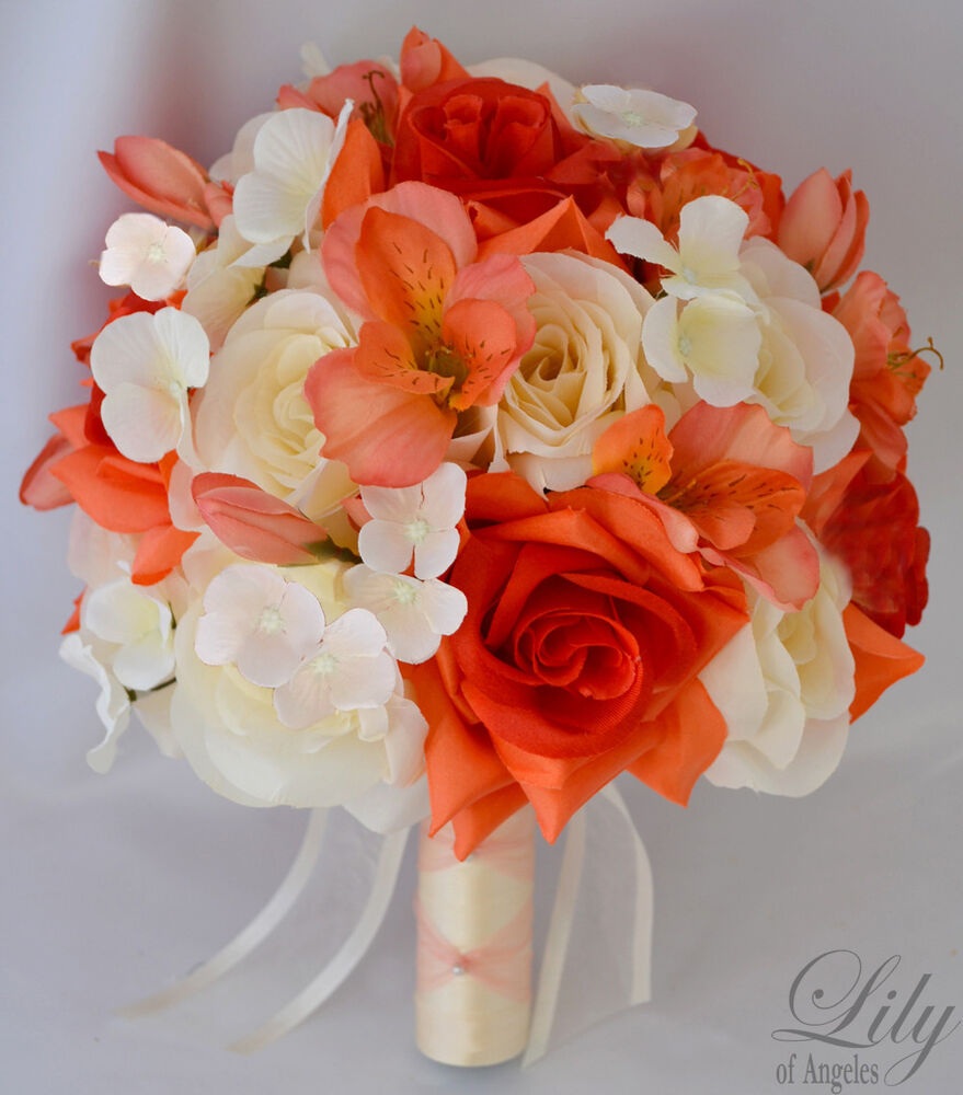 17pcs wedding bridal bouquet silk flower decoration package coral ivory orange ebay. Black Bedroom Furniture Sets. Home Design Ideas