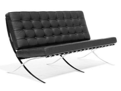 Eames black barcelona three seater chair leather sofa for Design sofa replica