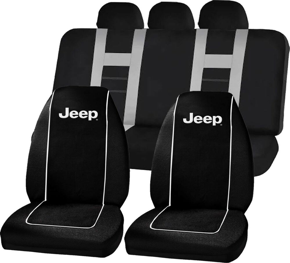Jeep Mopar Logo Black High Back Seat Covers Amp Gray