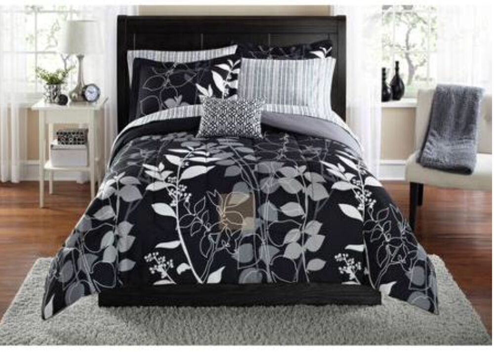 Bedding Dorm: Black + Gray Floral COMFORTER+SHEETS+SHAM+PILLOW SET Dorm