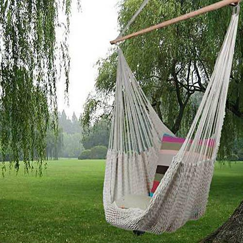 New hanging swing garden patio hammock chair cotton rope for Make a rope hammock