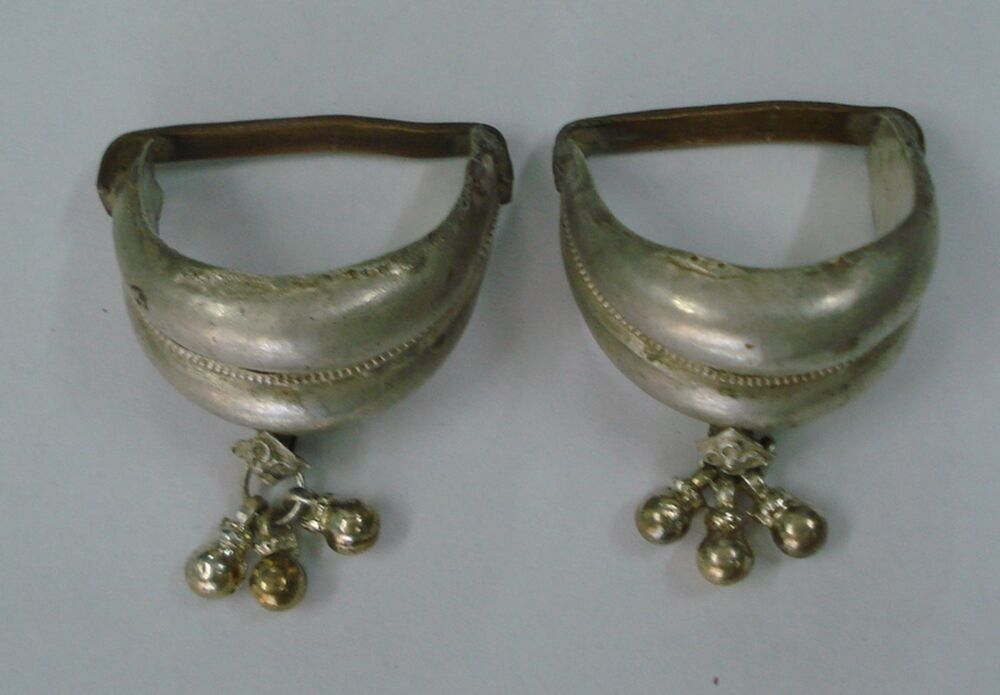 vintage antique tribal silver big toe ring pair belly