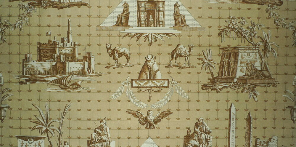 braquenie monuments d 39 egypt dune brown toile de jouy cotton france remnant new ebay. Black Bedroom Furniture Sets. Home Design Ideas