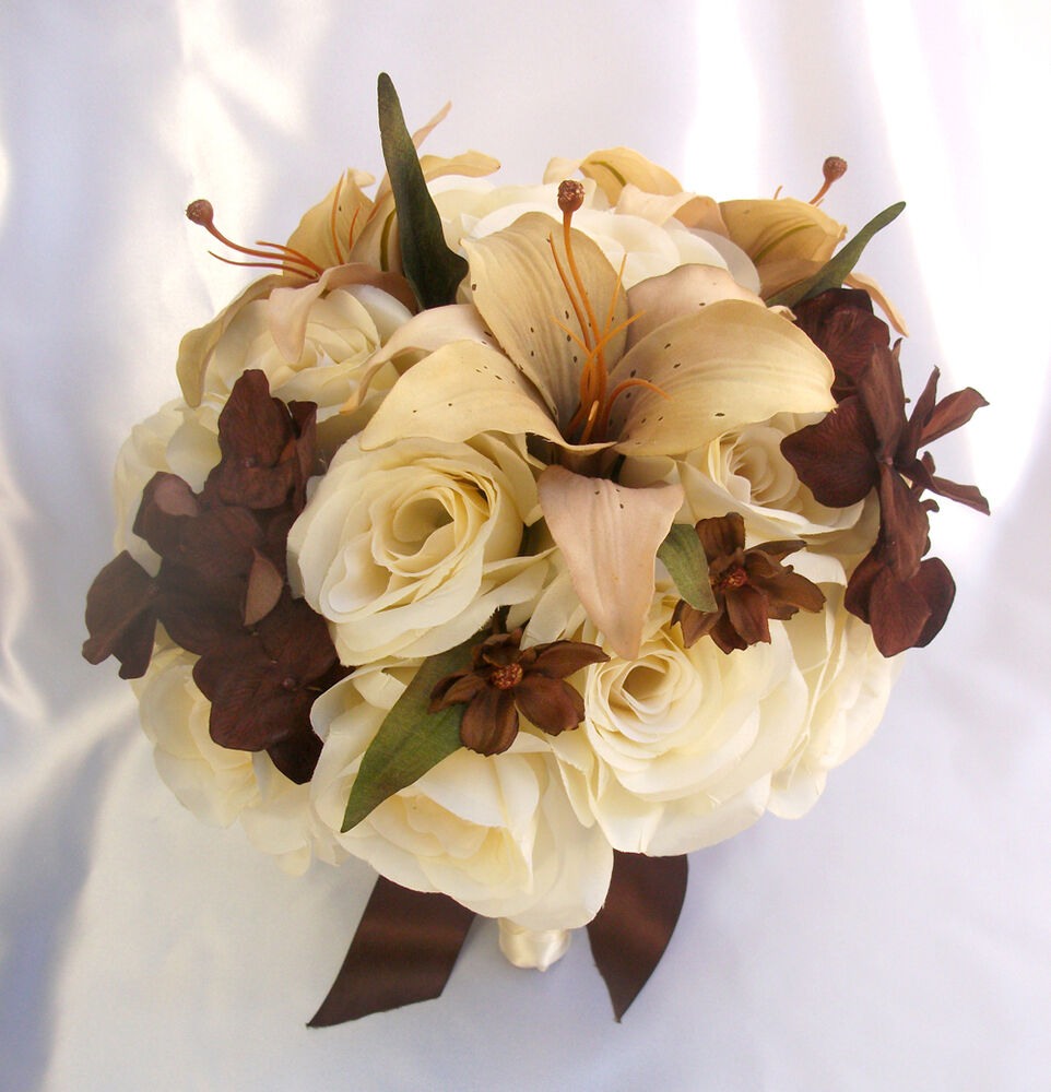 silk wedding bouquets for sale 17 pcs wedding bridal bouquet decoration flowers 7420