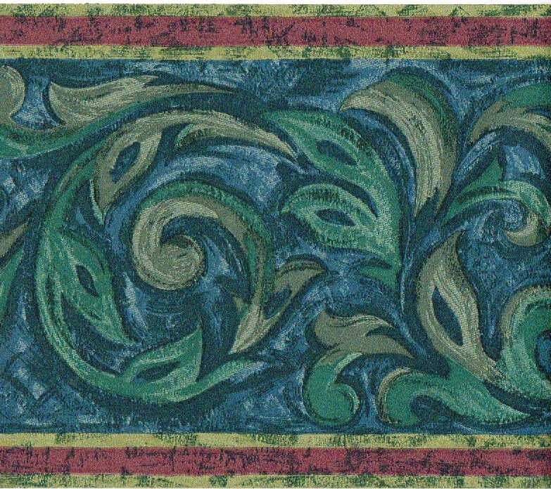 Green Blue Grey Art Deco Acanthus Leaf Scroll Red Stripe