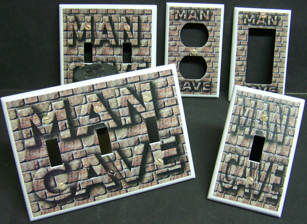 Man Cave Outlet Store : Man cave brick image design light switch cover plate and
