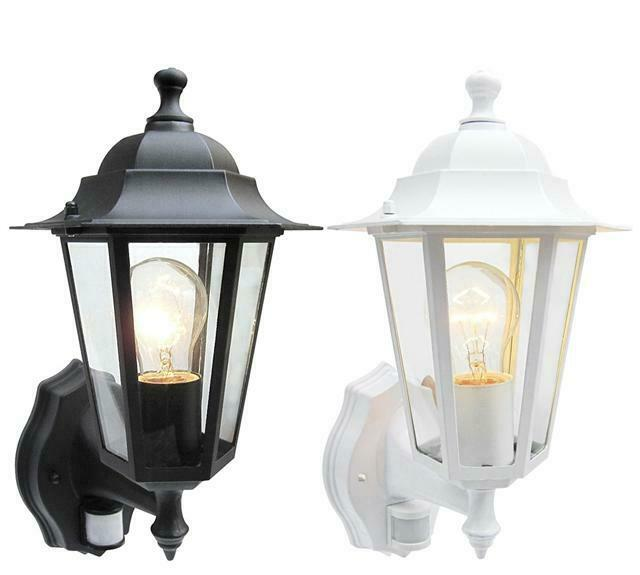 Outdoor 6 Sided Wall Lantern Black Or White With Pir Motion Sensor Detector Ebay
