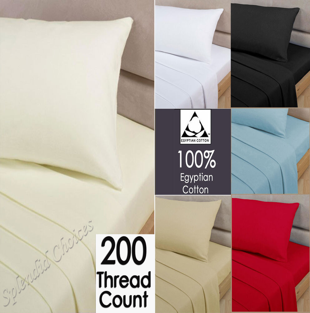 luxury 100 egyptian cotton fitted sheet 200 thread count sheets all sizes ebay. Black Bedroom Furniture Sets. Home Design Ideas